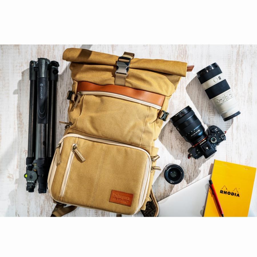 カメラバッグ 帆布 リュック 一眼レフ 大容量 おしゃれ ミラーレス Endurance Ext サンドベージュ カメラリュック 女子|y-op|07