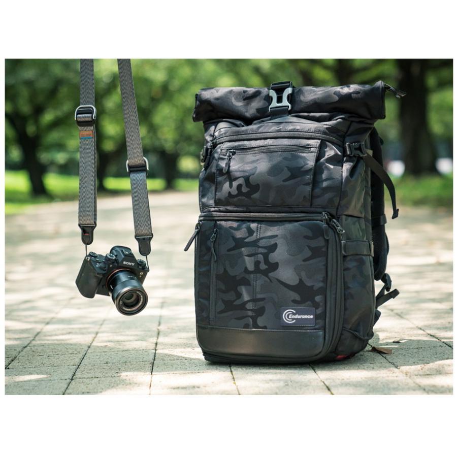 カメラバッグ 一眼レフ リュック 大容量 Endurance(エンデュランス)  HG ブラック迷彩 カメラバック カメラリュック バックパック|y-op|05