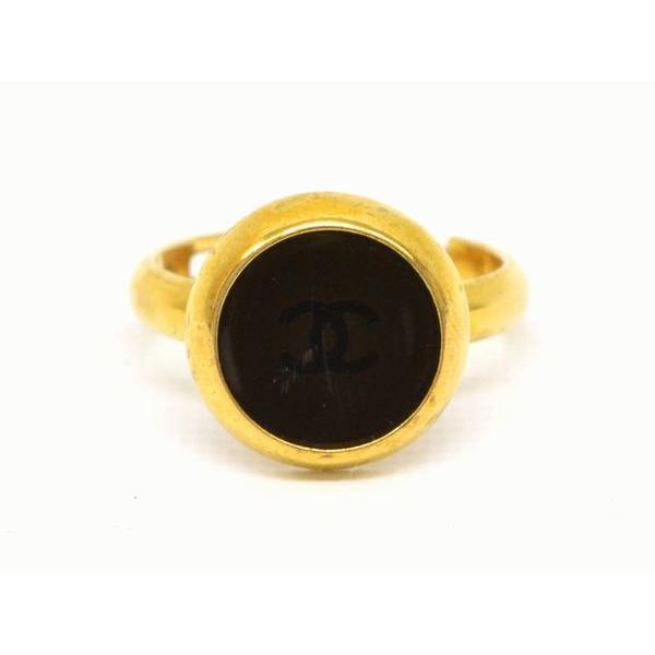 当店だけの限定モデル 本物 CHANEL シャネル 99A CC COCO ココマーク ヴィンテージ ラウンド リング 指輪 フリーサイズ ブラック 黒 ゴールド メッキ フランス製, にいがたけん 4d7f1ad9