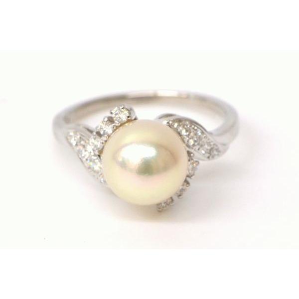 上品な 本物 MIKIMOTO ミキモト アコヤパール 真珠 8.5mm ダイヤモンド Pt950 プラチナ リング 指輪 11号 ホワイト 白 ブランド ジュエリー 美品, ヤメグン c74e2bff