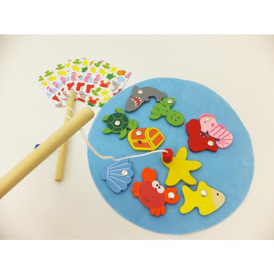 さかなつりゲーム 魚釣り おもちゃ マグネット 木製 知育玩具 3歳以上|y-silverback