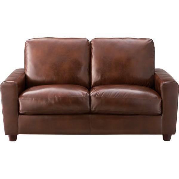 ソファ 2人掛け ソファー コンパクト 合皮 レザー 肘付き 脚付き 二人掛け 2人用 イス 椅子 ブラウン