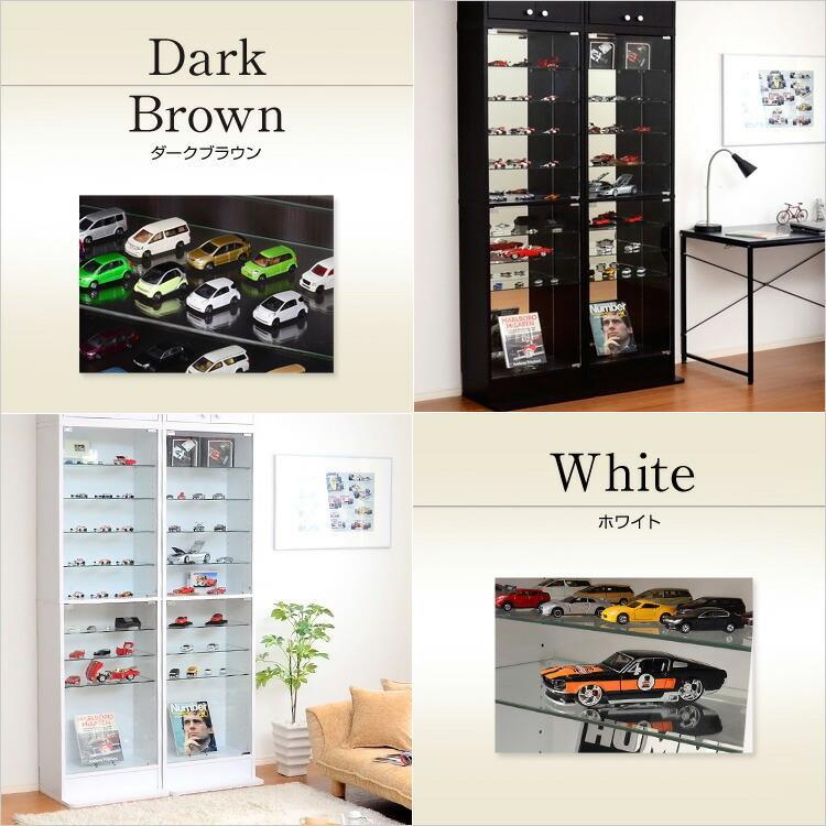 コレクションラック -Luke-ルーク 深型ハイタイプ 飾り棚 見せる収納 本棚 かっこいい ガラス 白 茶色 y-syo-ei 03
