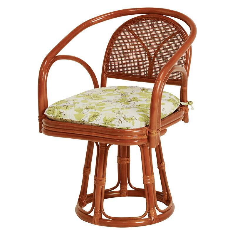3脚組 回転座椅子 回転式 回転 座椅子 回転椅子 高座椅子 籐 タラン ハイタイプ 肘 一人掛け 籐 1人椅子 チェア RZ-251-H