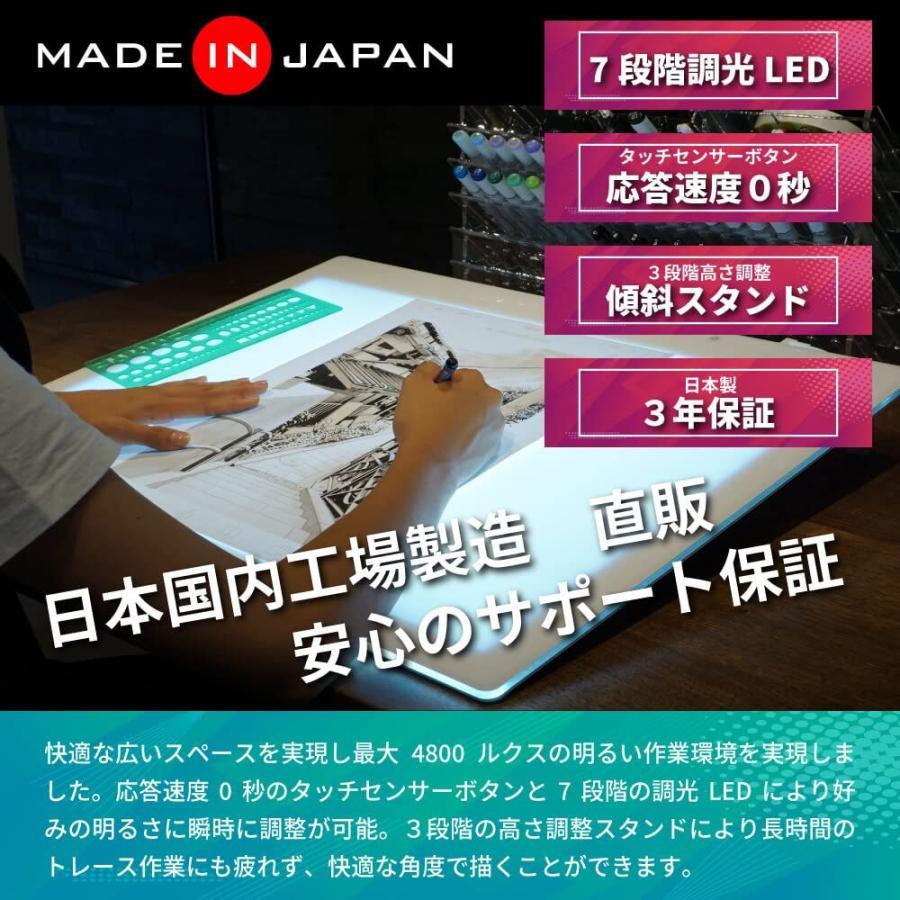 トレース台 LED トライテック トレス台 2019年度モデル 日本製 送料無料 A3サイズ トレビュアー A3-500-W ピュアホワイト 調光 ライトボックス 製図 書道 検査台|y-trytec|04