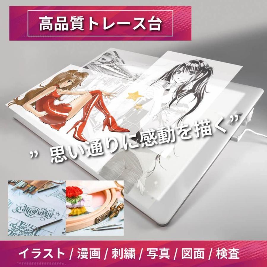 トレース台 LED トライテック トレス台 2019年度モデル 日本製 送料無料 A3サイズ トレビュアー A3-500-W ピュアホワイト 調光 ライトボックス 製図 書道 検査台|y-trytec|07