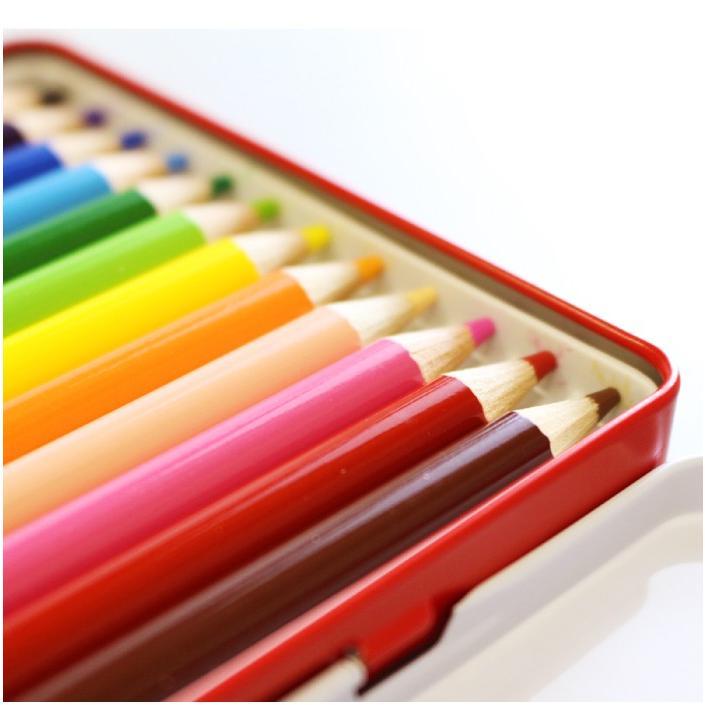 三菱鉛筆 uni 色鉛筆 12色セット 缶入 880 色えんぴつ メール便送料無料 小学生 小学校 工作 図工 筆記具 画材|y-wakka|02