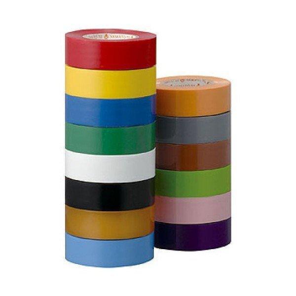 ビニールテープ 19mm幅10m巻 1巻 ヤマトビニールテープ 日本製 工作 色分け 導線 学校 絶縁  高品質 工作 ソーシャルディスタンス|y-wakka|02