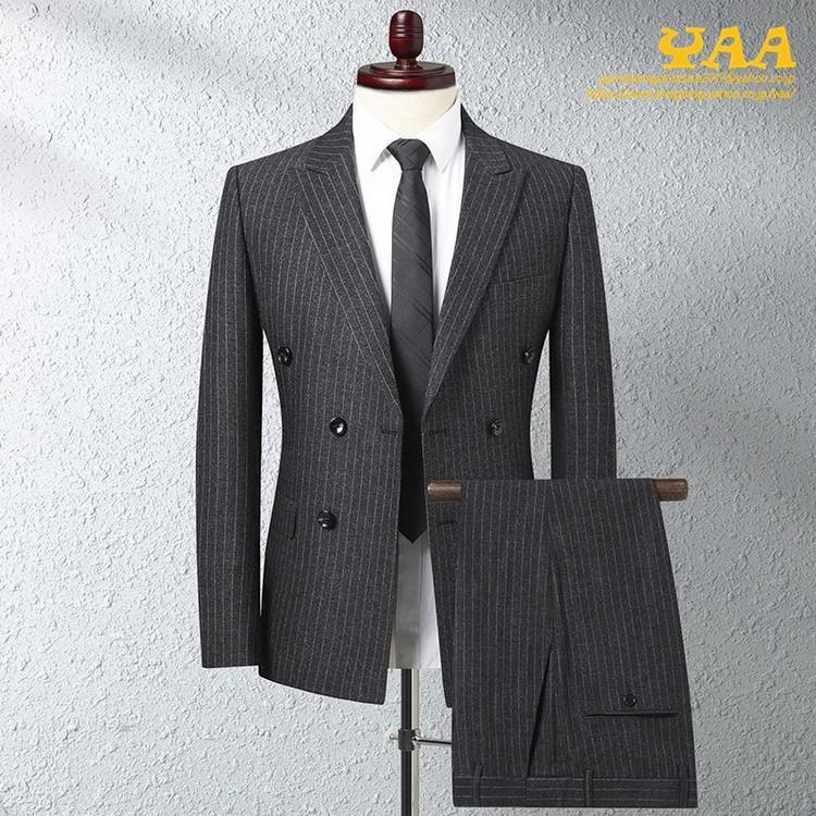 ダブルスーツ セットアップ 2ピーススーツ 6つボタン ビジネススーツ ストライプ柄 スーツ 秋冬 結婚式 礼服 紳士 メンズ yaa