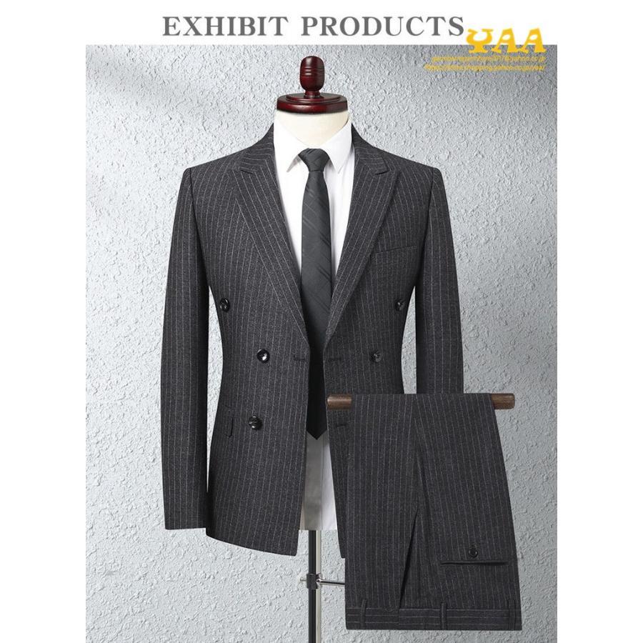 ダブルスーツ セットアップ 2ピーススーツ 6つボタン ビジネススーツ ストライプ柄 スーツ 秋冬 結婚式 礼服 紳士 メンズ yaa 03