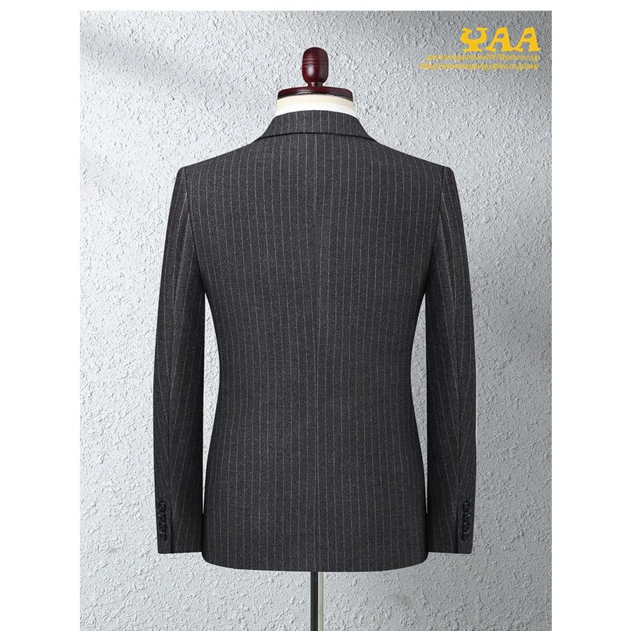 ダブルスーツ セットアップ 2ピーススーツ 6つボタン ビジネススーツ ストライプ柄 スーツ 秋冬 結婚式 礼服 紳士 メンズ yaa 04