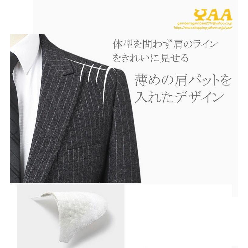 ダブルスーツ セットアップ 2ピーススーツ 6つボタン ビジネススーツ ストライプ柄 スーツ 秋冬 結婚式 礼服 紳士 メンズ yaa 05