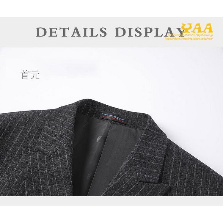 ダブルスーツ セットアップ 2ピーススーツ 6つボタン ビジネススーツ ストライプ柄 スーツ 秋冬 結婚式 礼服 紳士 メンズ yaa 07