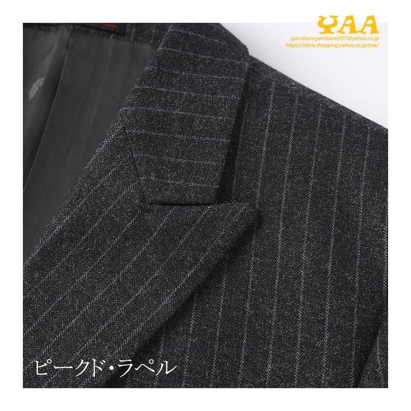 ダブルスーツ セットアップ 2ピーススーツ 6つボタン ビジネススーツ ストライプ柄 スーツ 秋冬 結婚式 礼服 紳士 メンズ yaa 08