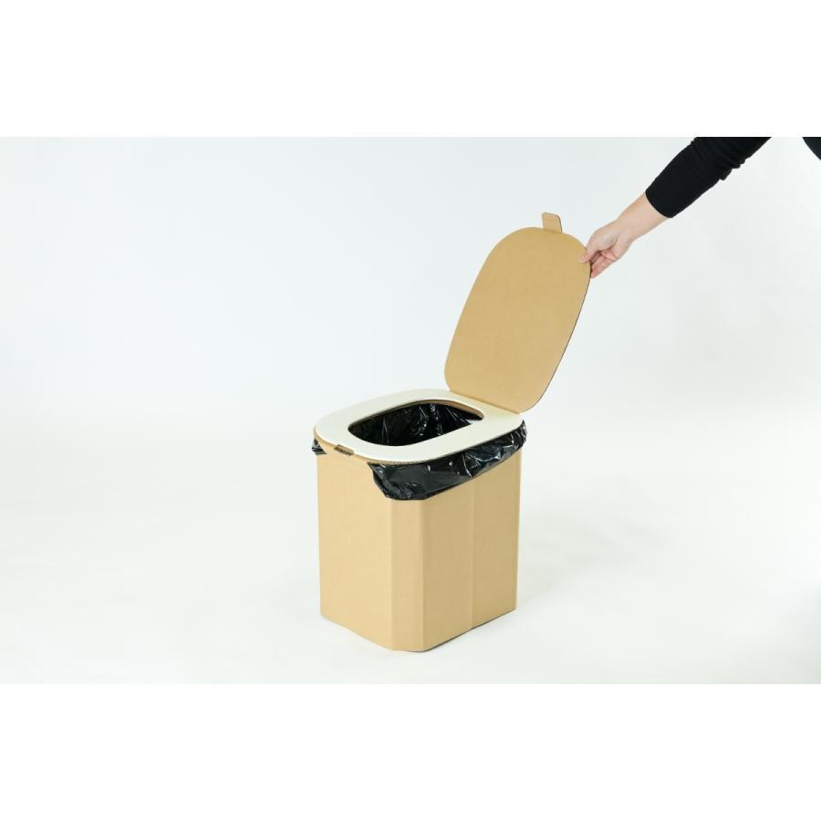【1個】おしりにやさしい簡易トイレ 非常用ダンボール製組立式トイレ(5回分) yabai0132 06