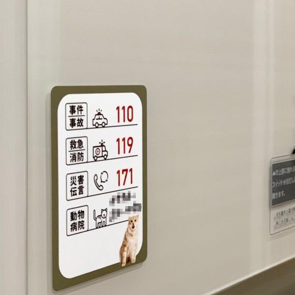 緊急連絡先お助けステッカー★緊急連絡先 動物病院 ステッカー シール 冷蔵庫 3000円以上送料無料|yadotoneko|03