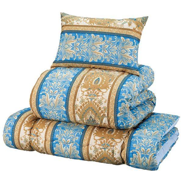 羽毛入り 布団セット/寝具 〔ダブル ブルー〕 枕×2 枕×2 掛布団×1 敷布団×1 ポリエステル フェザー ダウン 〔ベッドルーム〕お買得品