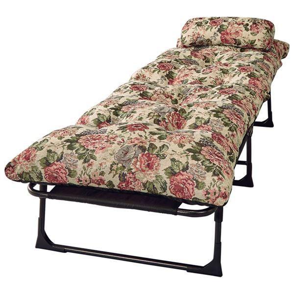 枕&ごろ寝布団付き リクライニングベッド/寝具 〔セミシングル 6段階 花柄〕 幅60cm 折りたたみ 折りたたみ スチールパイプ製フレームお買得品