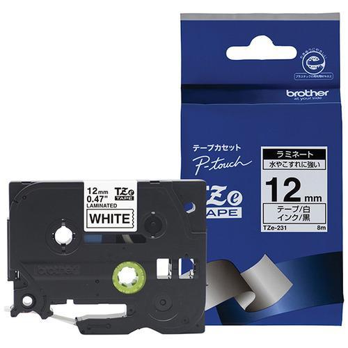 ブラザー TZe-231 ラベルライターピータッチ用 ラミネートテープ 長さ8m 白テープ 全品最安値に挑戦 幅12mm AL完売しました。 黒文字