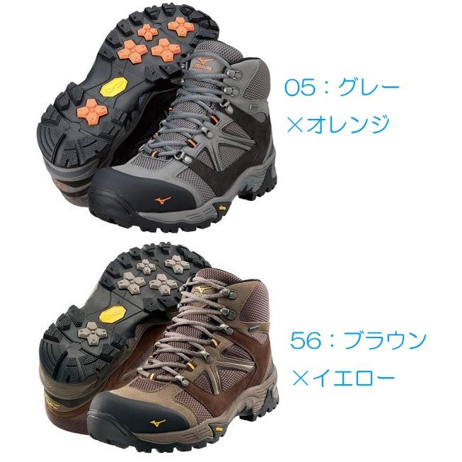 mizuno ミズノ WAVE NAVIGATION/05 グレーXオレンジ /25 19KM150 トレッキングシューズ