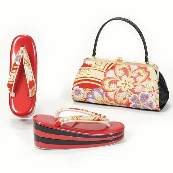 草履バッグセット 振袖 フリーサイズ 4枚芯 高め台 帯地 日本製 赤