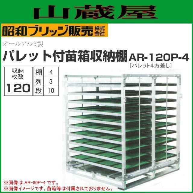 昭和ブリッジ 水平収納式 パレット付苗箱収納棚 AR-120P-4 120枚(3列×10段×4枚) 全長2000×全幅1280×全高1580mm