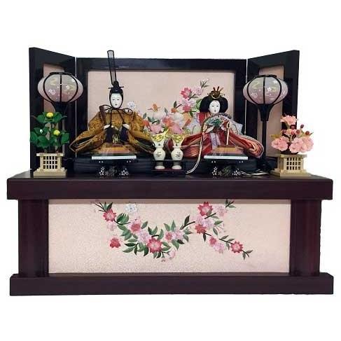 雛人形 収納飾り 芥子親王 茶塗り収納台セット