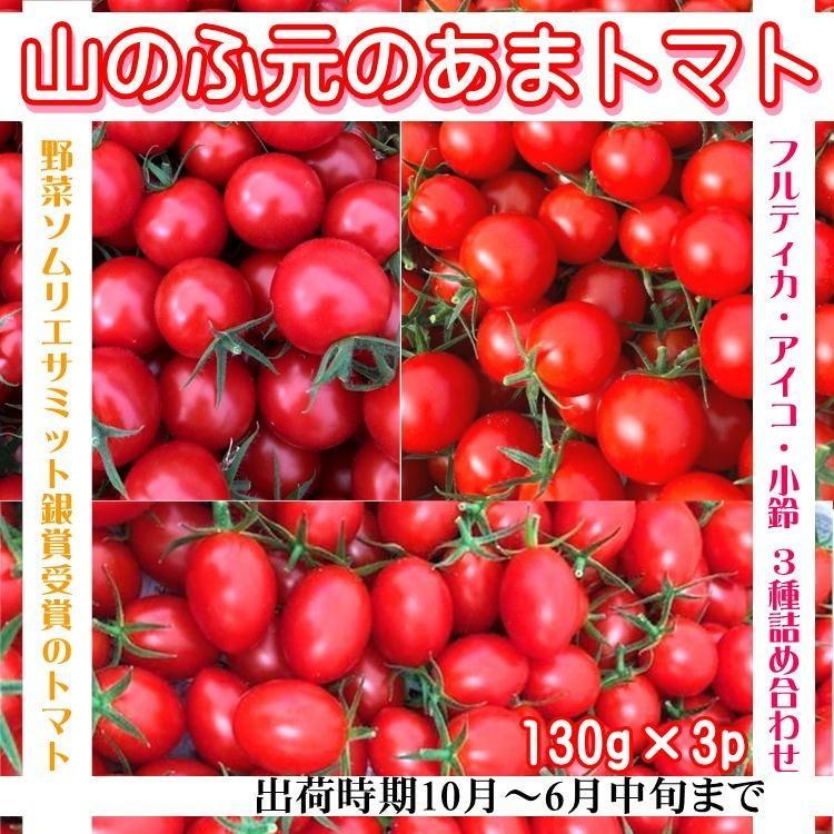 あまとまと トマト 130g×3p 甘い まるでフルーツ! 完熟 ミニ プチ 宮城 山元町 野菜 ソムリエサミット 受賞 ギフト お祝い 送料無料 yappari