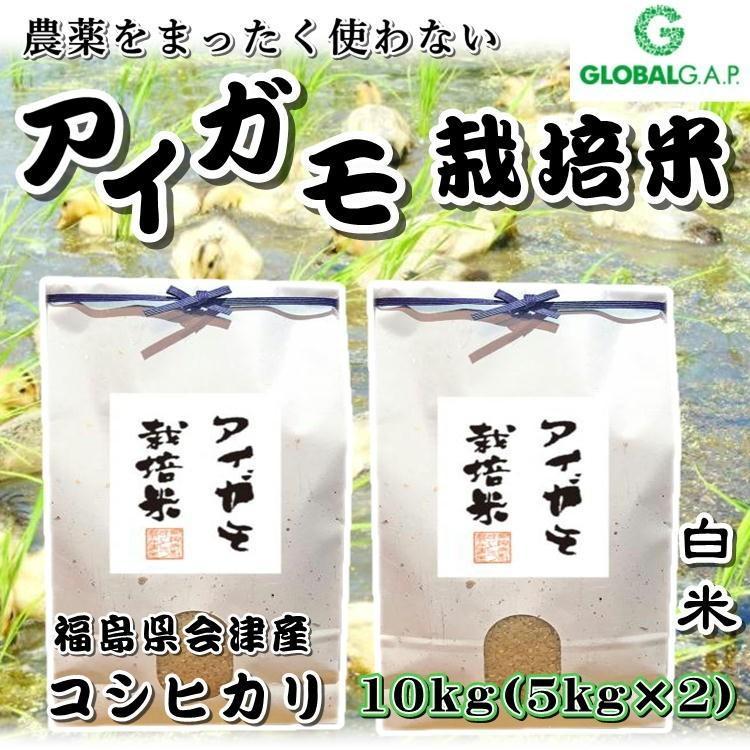 会津 合鴨農法 コシヒカリ 10kg 白米 令和2年産 新米  福島 お米 あいがも 送料無料 無農薬|yappari