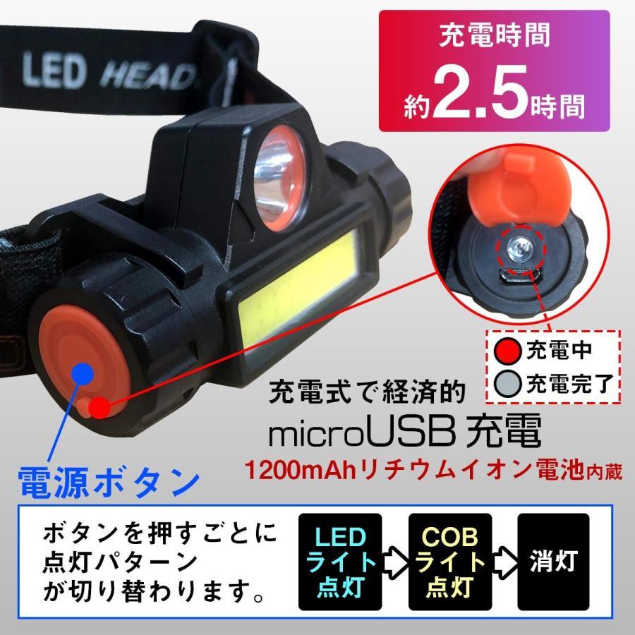ヘッドライト led cob 充電式 軽量 アウトドア 防災 釣り ランプ 懐中電灯 USB充電 登山|yasuizemart|06