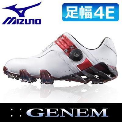 ミズノ GENEM [ジェネム] 004 ボア メンズ ゴルフ スパイク シューズ 51GQ-140062 【ホワイト×レッド/足幅EEEE】
