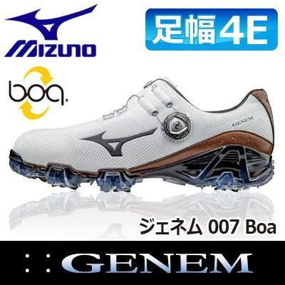 【限定製作】 MIZUNO [ミズノ] GENEM [ジェネム] 007 Boa メンズ ゴルフ シューズ 51GQ1700 ホワイト/ブラウン, 仮設トイレなら建設ラッシュ df73342c