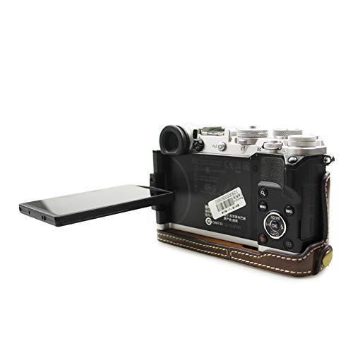 kinokoo OLYMPUS PEN-F専用 ボディケース カメラケース バッテリーの交換でき 三脚ネジ穴 標識クロス付き(コーヒー)|ybd|05