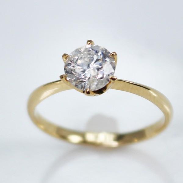 【即発送可能】 K18イエローゴールド 1.0ct一粒ダイヤリング 指輪 (鑑別書付き) 13号, 白衣のおおぎや 6076ba52