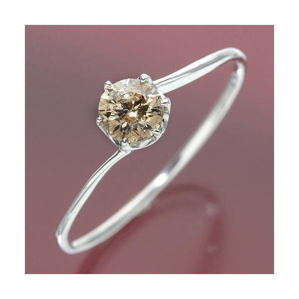 春先取りの K18ホワイトゴールド 0.3ctシャンパンカラーダイヤリング 指輪 17号, Labbing store 69891786