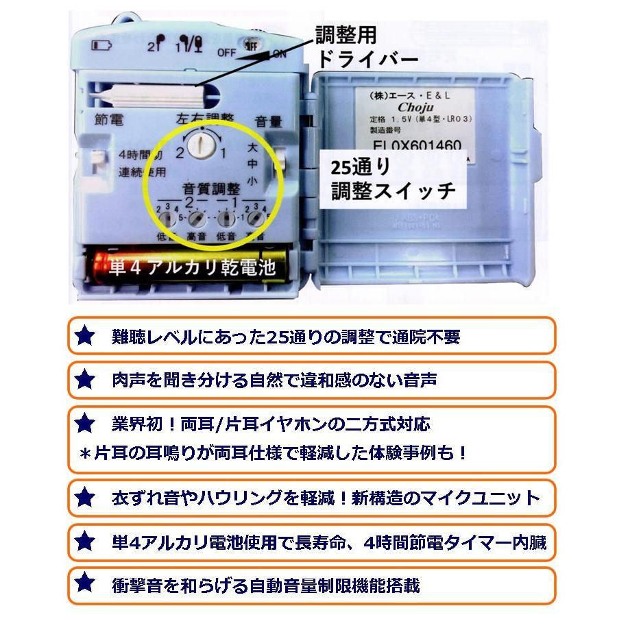 調整機能の充実した集音器 Choju 両耳 片耳 イヤホン ハウリング軽減マイクユニット 単4アルカリ電池 節電タイマー内臓|ygc-japan|03