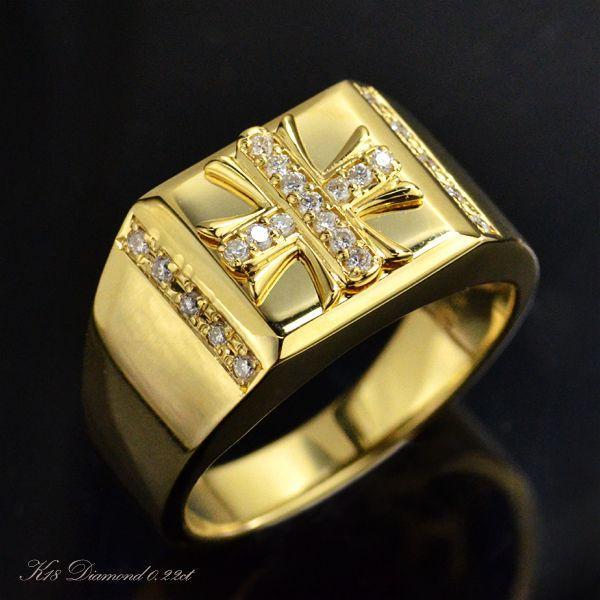 最高の品質 K18 ダイヤモンド メンズリング クロス 受注生産品, 結婚アイテム ルブラン 5b312d52