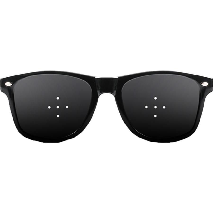 ついに再販開始 送料無料 視力回復 視力矯正 ピンホールメガネ 本物◆ ブラック