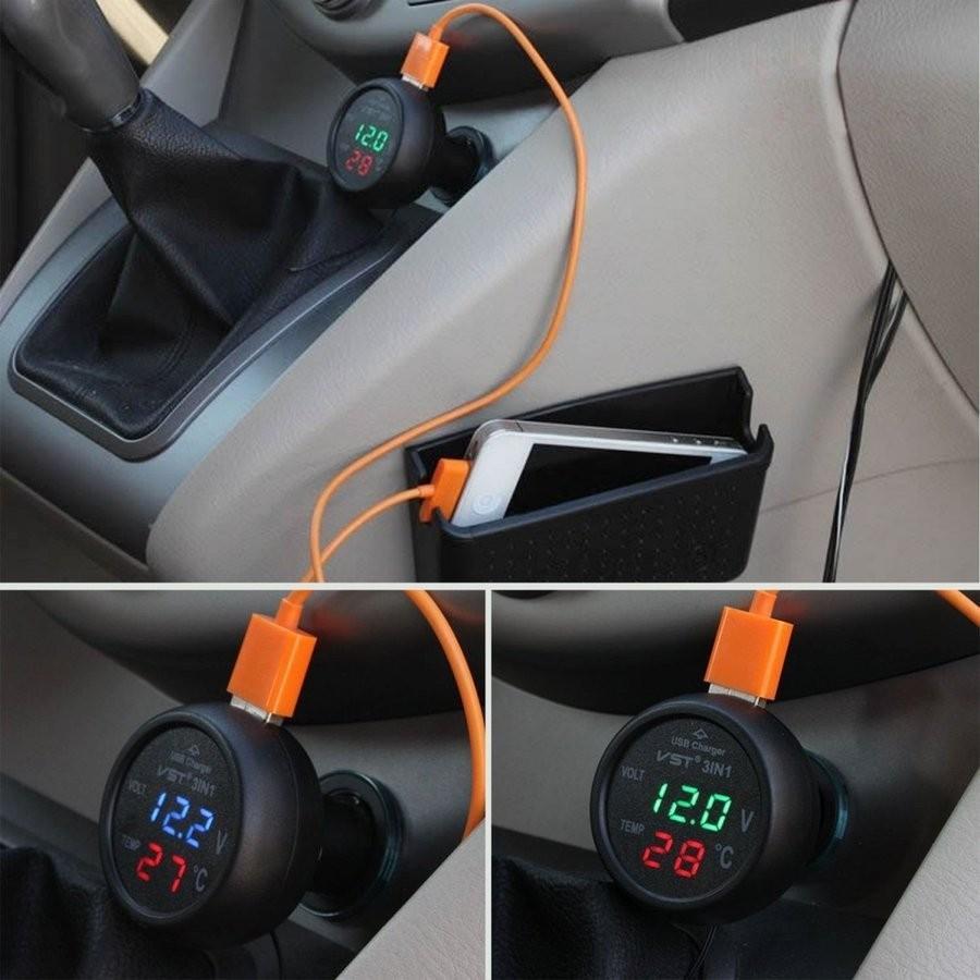 送料無料 2020 新作 デジタル電圧計 LED 温度計 USB充電器 3in1 限定特価 自動車用 24V グリーン レッド 2色展開 ブルー シガーソケット 12V