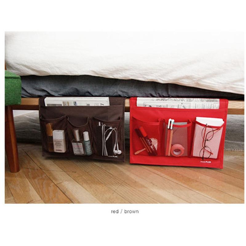 ベッド サイド ポケット 新品 こたつ や トラスト テーブル の 小物 ラック ブラウン リモコン レッド 整理