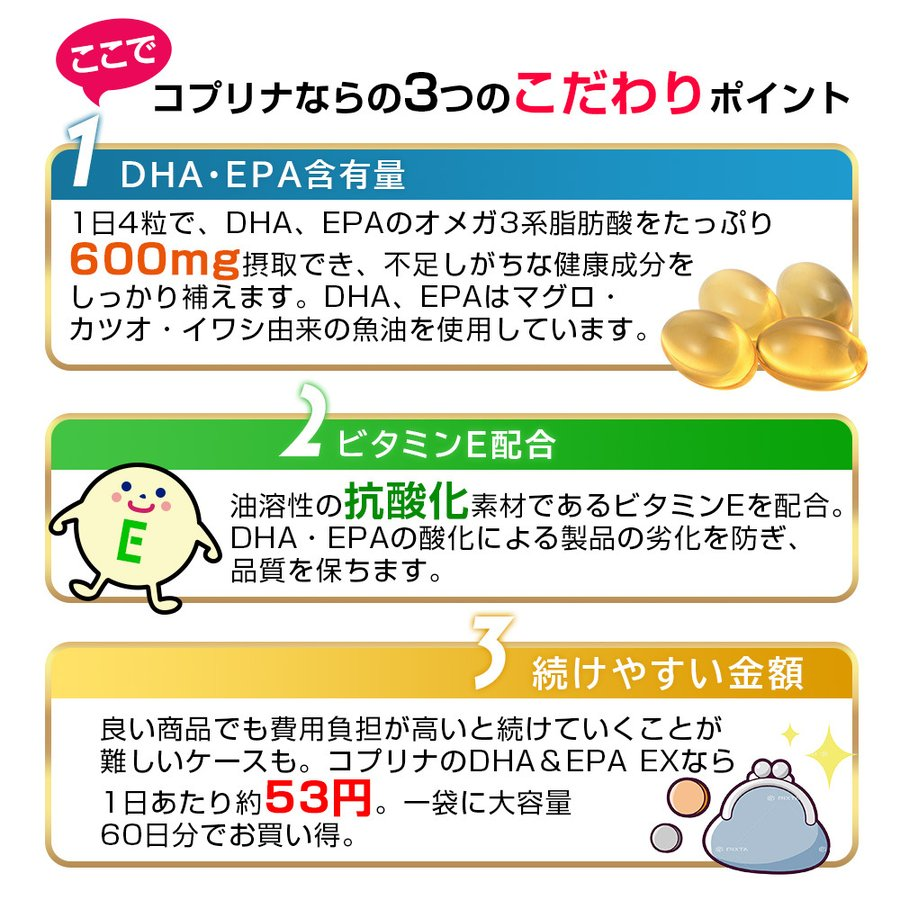 DHA&EPA EX 240粒 1袋60日分【安心国内製造/ソフトカプセル/n-3系(オメガ3)脂肪酸/健康/サプリ/サプリメント/コプリナ/メール便・送料無料】|ykoplina|06