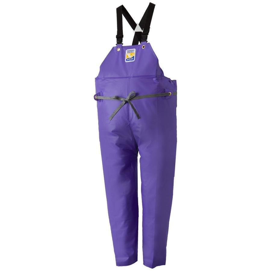 マリンエクセル(MARINE EXCELL) 産業用レインウェア 胸当付ズボン膝当て付(サスペンダー式) 12063930 パープル
