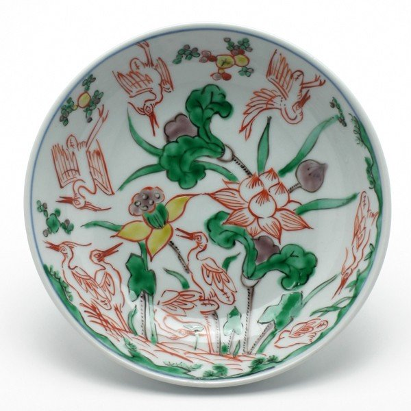 九谷焼:南京赤絵蓮鷺文皿・須田菁華 《小皿・14.8cm》|yobi