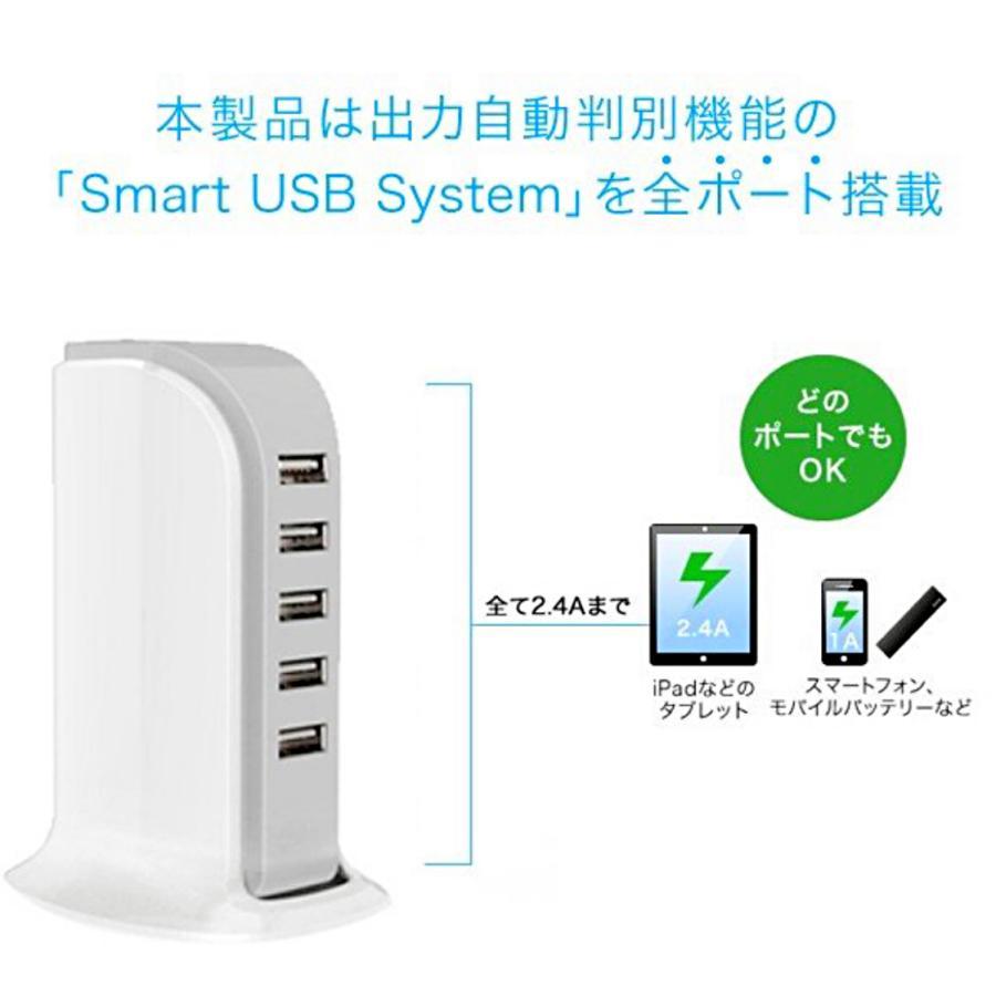コンセント式 5USBポート 急速 スマホ充電器 ACアダプター付 最大2.1A モバイル機器 同時充電 iPhone タブレット 高出力4a USBチャージャー   5ポートタワーA|yoihingekiyasu-store|05