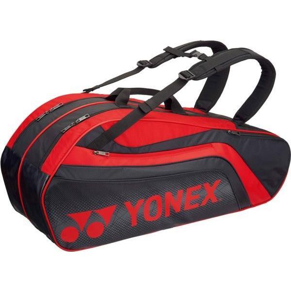 ヨネックス テニス (テニス用ラケットバッグ) TOURNAMENT SERIES ラケットバック6 リュック付き(ラケット6本用) 17 ブラック/レッド バッグ(bag1812r-187)
