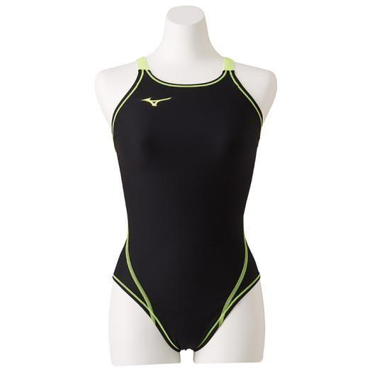 ミズノ 競泳練習用ミディアムカット[レディース] 70&nbspブラック×セーフティーイエロー(n2ma826070)