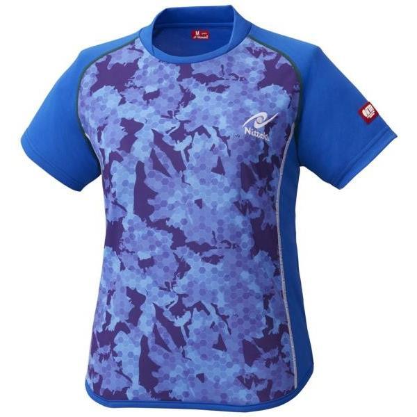 Nittaku 卓球 卓球アパレル FLAGE SHIRT(フラージュシャツ) 女子用 19 ブルー ケームシャツ・パンツ(nw2188-09)