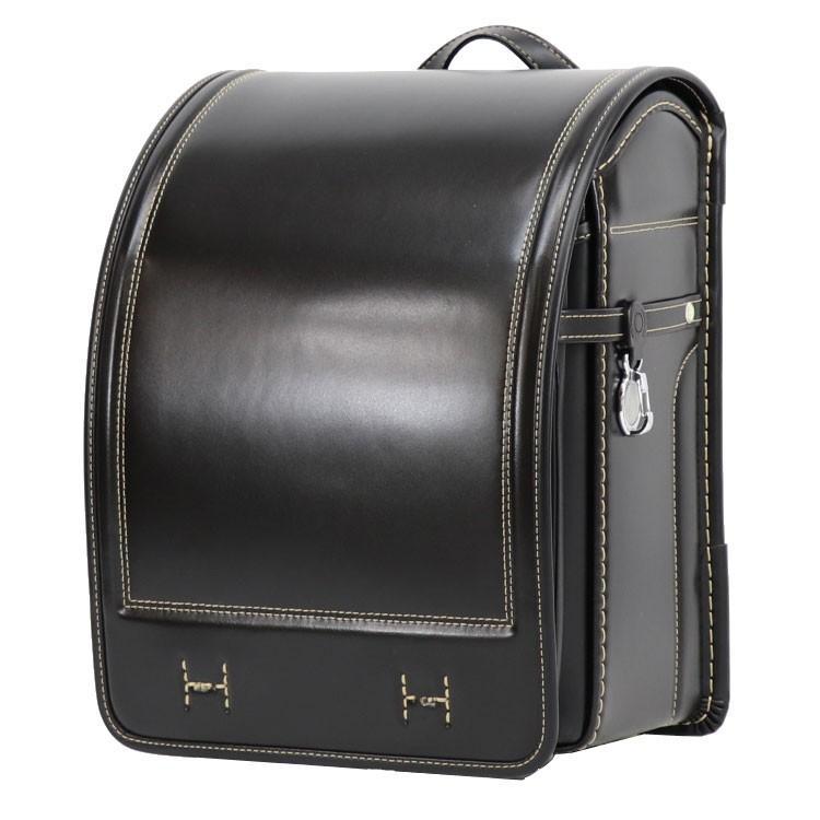 ランドセル 横山鞄オリジナル イタリア製牛革ベーシック 黒×ゴールド