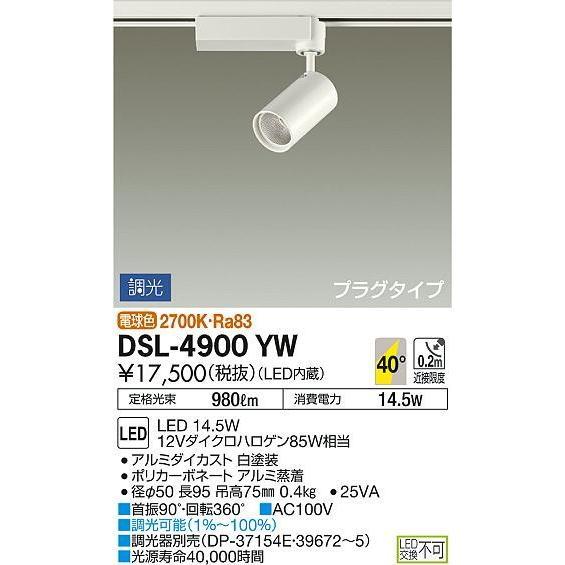 DSL-4900YW:スポットライト プラグタイプ 調光 電球色 12Vダイクロハロゲン85W相当 DSL-4900YW:スポットライト プラグタイプ 調光 電球色 12Vダイクロハロゲン85W相当