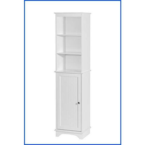 【新品】Spirich Home Freestanding Storage Cabinet with Three Tier Shelves, Tall Slim Cabinet, Free Standing Linen Tower, White Finish【